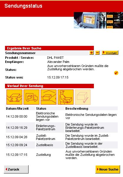 Sendungsstatus vom 18.12.2009