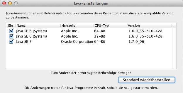 Java Einstellungen Mac OS X